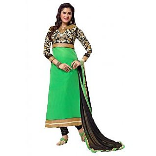 Suchi Fashion Heavy Embroidery Green and Blue Unstitched Chanderi Salwar Suit