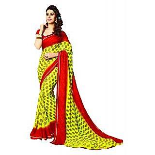 IndiWeaves Maroon Brocade Printed Saree With Blouse