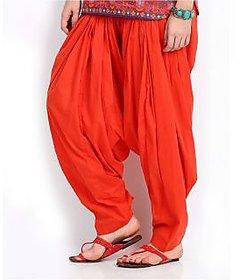 Ashish Fabrics Orange Cotton Plain Patiala Salwar
