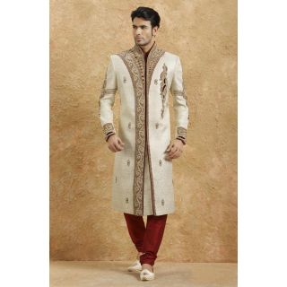 Brocade Embroidered Sherwani White And Red