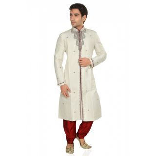 Brocade Embroidered Sherwani Cream And Red 1