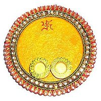 Designer Wood And Clay Pooja Thali Yellow