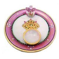 Keri Design Wood And Clay Work Pooja Thali Pink And Whi
