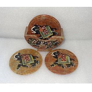 coaster set (Soap Stone) Handmade painted elephant