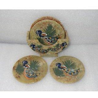 coaster set (Soap Stone) Handmade painted peacock