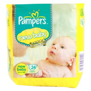 Pampers  Active Baby Diapers Economy Pack Newbaby - 24Pcs (0 - 5 Kgs)