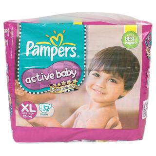 Pampers  Active Baby Diapers Value Pack Extra Large - 32Pcs (12 - 17 Kgs)