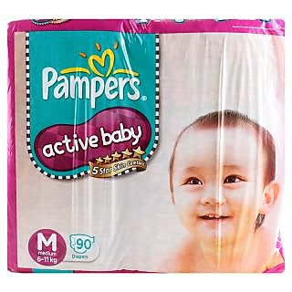 Pampers Active Baby Pants Jumbo Pack Medium - 90Pcs (6 - 11 Kgs)