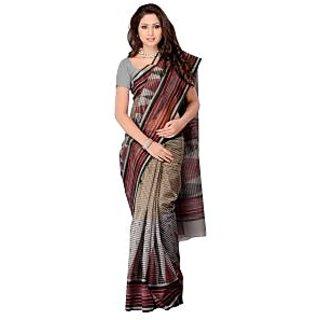 Fabdeal Grey  Colored Cotton Printed Saree