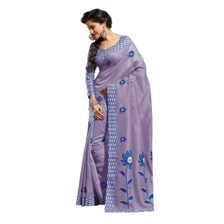 Fabdeal Purple Colored Cotton Embroidered Saree