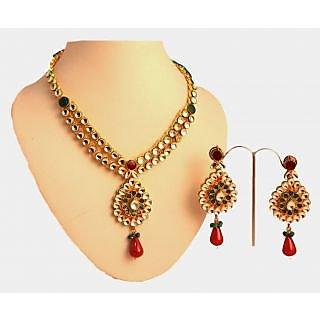 Porcupine Kundan Necklace Set With Matchng EarringsPN-JW-NS-363
