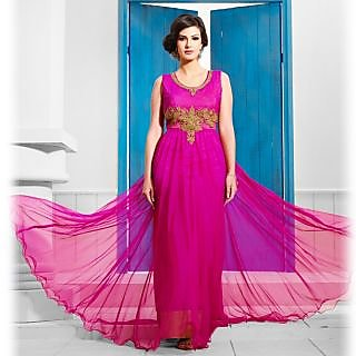 Ishi Maya Magenta Long Gown Designer Suit