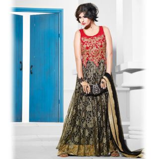 Ishi Maya Red and Black Long Gown Designer Suit