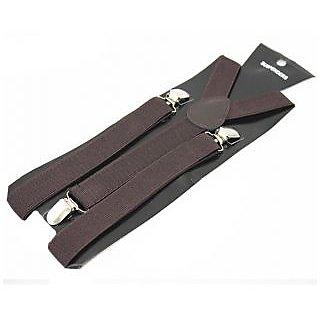 Coffee Y-Back Suspender (Black Satin Pocket Square Free)
