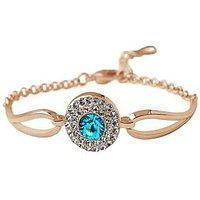 Cyan Golden Austrian Crystal Link Bracelet