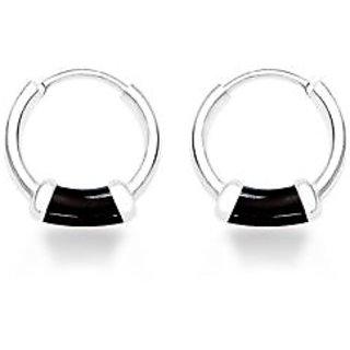 Sterling Silver  Enamel Hoop Earring By Taraash