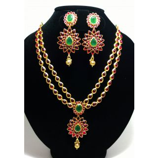 5d81fdc95875d Stunning Kundan necklace set with Red kemp and Emerald stones embosed