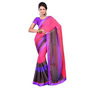 Fabdeal Pink Colored Chiffon Butti Printed Saree