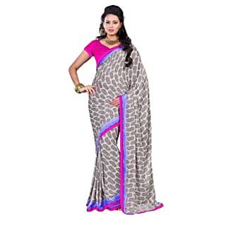 Fabdeal Beige Colored Satin Chiffon Printed Saree