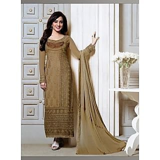 IndiWeaves Brown Kota Lace Salwar Suit Dress Material (Unstitched)
