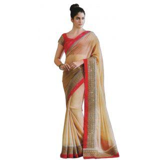Suchi Fashion Cream Colored Chiffon Saree