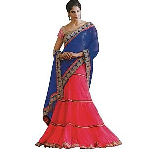 Suchi Fashion Lehenga Pattern Pink  Blue Colored Saree