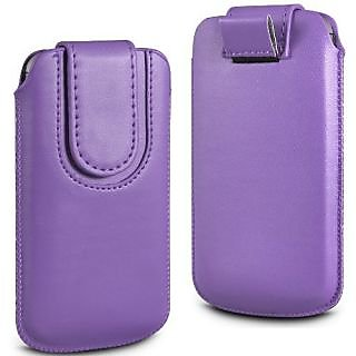 Wow Pu Leather Magnetic Pull Tab Protective Pouch For Micromax Bolt A36 4MPLPurpleMBA36
