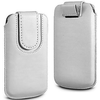 Wow Pu Leather Magnetic Pull Tab Protective Pouch For Karbonn A15 Plus 4MPWhiteKA15Plus