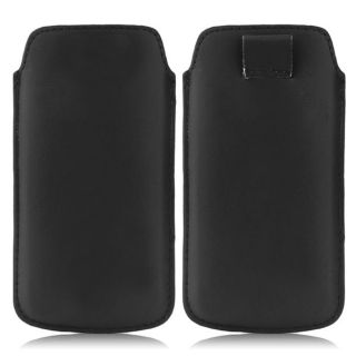 Wow Pu Leather Pull Tab Protective Pouch For Lava Iris 404e (Black) 4PTBlackLAVA 404e