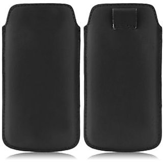 Wow Pu Leather Pull Tab Protective Pouch For Karbonn A90 (Black) 4PTBlackKA90