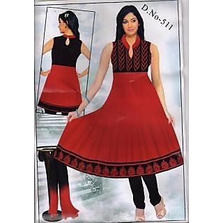 Anarkali Kurti Red And Black