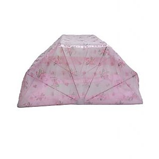 ans mosquito net 6x6ft double bed pink printed