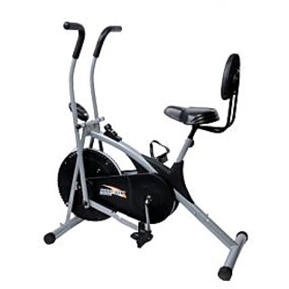 Body Gym Dual Functional Air Bike With Digital Meter With Back Support