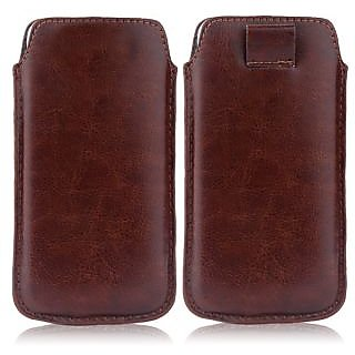 Wow Pu Leather Pull Tab Protective Pouch For Karbonn A90 (Brown) 4PTBrownKA90