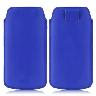Wow Pu Leather Pull Tab Protective Pouch For Karbonn A90 (Blue) 4PTBlueKA90