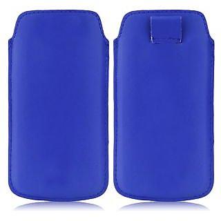 Wow Pu Leather Pull Tab Protective Pouch For Lava Iris 408e (Blue) 4PTBlueLAVA 408e