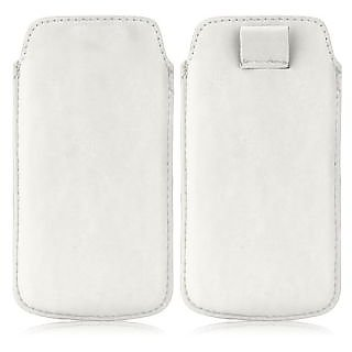 Wow Pu Leather Pull Tab Protective Pouch For Karbonn Titanium S1 Plus (White) 4PTWhiteKS1Plus