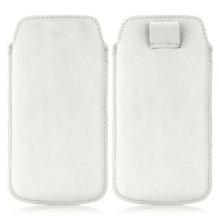 Wow Pu Leather Pull Tab Protective Pouch For Micromax Bolt A36 (White) 4PTWhiteMBA36