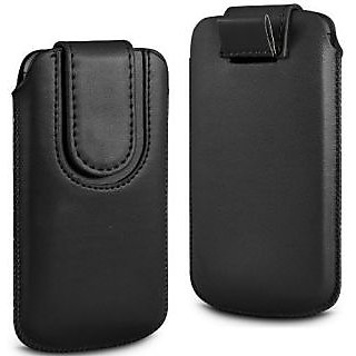 Wow Pu Leather Magnetic Pull Tab Protective Pouch For Micromax EG111 5.5MPBlackMEG111