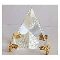 CRYSTAL GLASS PYRAMID WITH GOLDEN METAL BASE HEALING CRYSTAL FENG SHUI PYRAMID