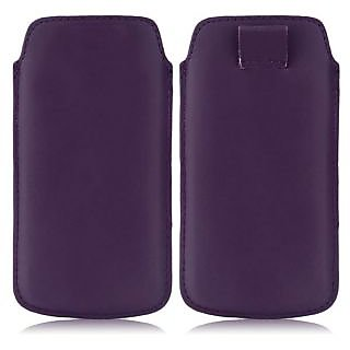 Wow Pu Leather Pull Tab Protective Pouch For Micromax Canvas 2 Colors A120 (Dark Purple) 5.5PTDPurpleMCA120