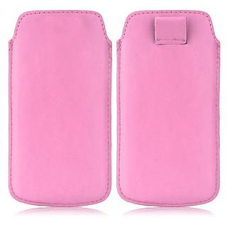 Wow Pu Leather Pull Tab Protective Pouch For Micromax Canvas 2 Colors A120 (Light Pink) 5.5PTLpinkMCA120