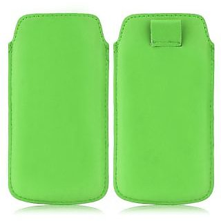 Wow Pu Leather Pull Tab Protective Pouch For Karbonn A18+ (Green) 5PTGreenKA18+