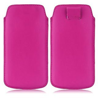 Wow Pu Leather Pull Tab Protective Pouch For Micromax Canvas 2 Plus A110Q (Pink) 5PTDPinkMC2A110Q