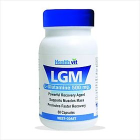 Healthvit LGM L-Glutamine 500 mg 60 Capsules For Mass Gain and Body Building.