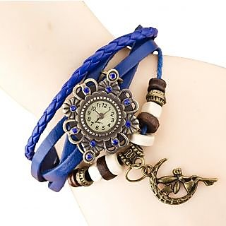 ELEGANZZA GENUINE LEATHER WOMEN'S WATCH BRACELET LADIES WATCH BLUE MOON GIRL