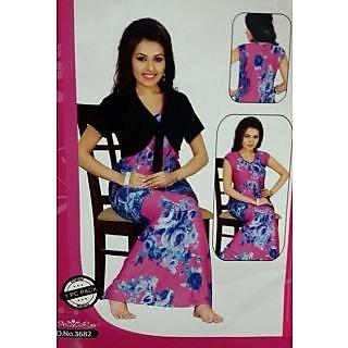 Shop 3682 Hot Sleep Set 2pc Night Gown   Jacket New Nighty Fun Maxi Daily  Wear Nighti Online - Shopclues 120374f5c