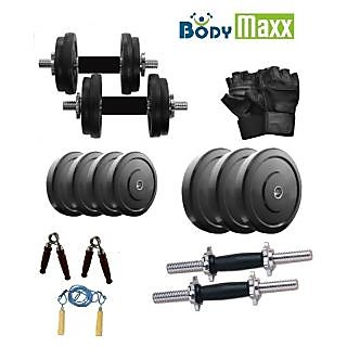Body Maxx 10 Kg Rubber Weight Plates + 2 Rods + Gloves + Rope +Gripper+ Dumbells