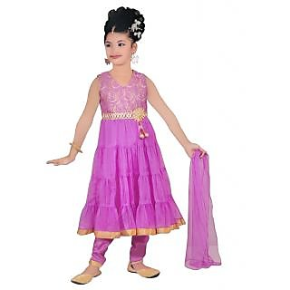Sarrah Netted Purple Salwar Suits For Girls (Size: 6 to 7 years)