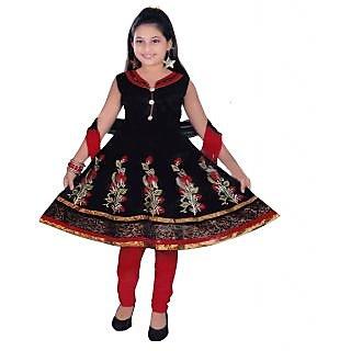 Sarrah Cotton Black Salwar Suits For Girls (Size: 3 to 4 years)